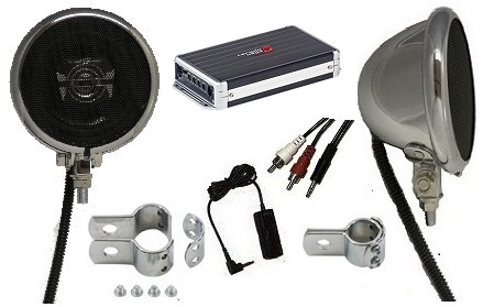 Premium Amplified Motorcycle Speaker System CHROME