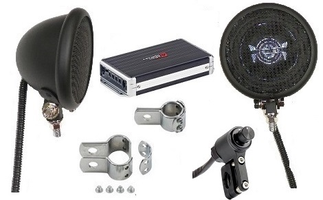 Platinum Amplified Motorcycle Speaker System BLACK BLUETOOTH EDITION