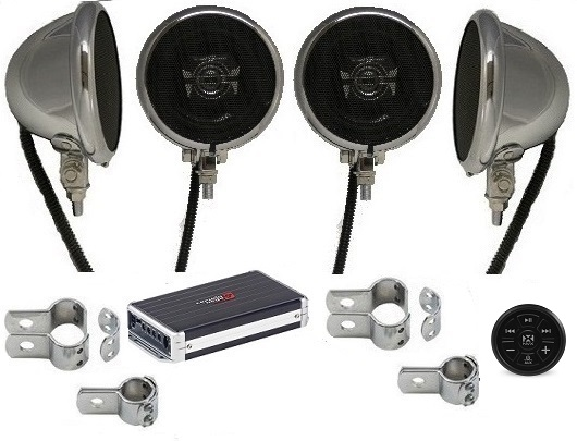 1200 Watt Motorcycle Speaker System CHROME BLUETOOTH EDITION